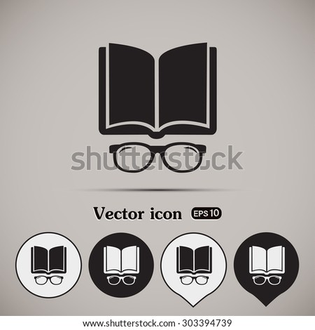 Vector illustration glasses with a bookVector illustration glass - stock vector