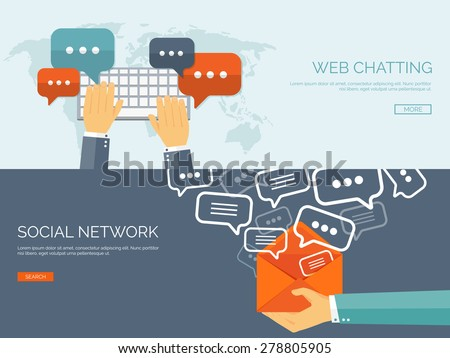 Vector illustration.  Global communication. Social network and chatting. Emailing and sms. Web calls. Internet. - stock vector