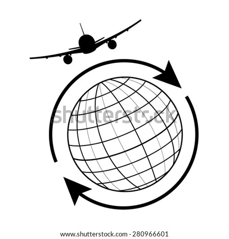 Vector illustration globe airplane and arrow around the world. Globe travel, earth icon, globe icon  - stock vector