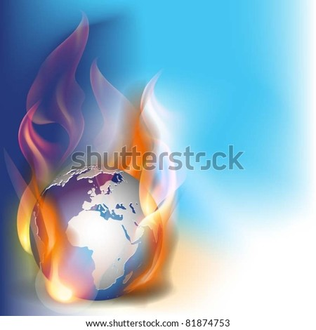 vector illustration globe in flames - stock vector