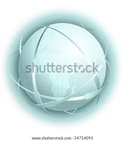 Vector illustration. Globe with arrows. - stock vector