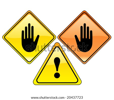 Vector illustration. Glossy pack of warning signs isolated on a white background. STOP - stock vector