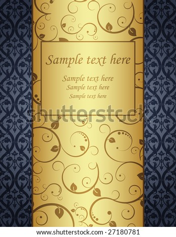 Vector illustration. Gold background with pattern. - stock vector