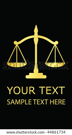Vector illustration gold justice scales (business card) - stock vector