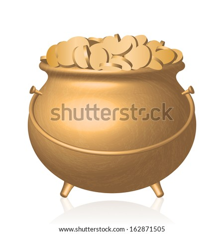 Vector illustration - gold pot with coins - stock vector