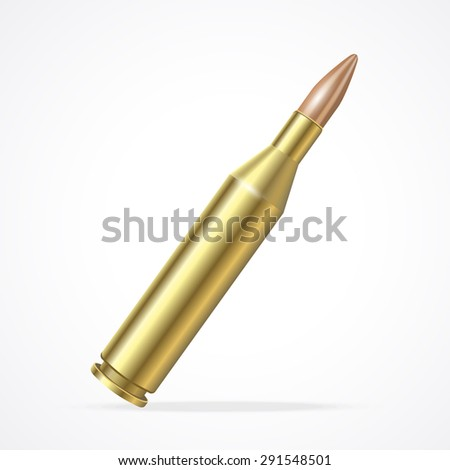 Vector illustration Gold Rifle Bullet isolated on a white background. The symbol of the weapons of the army - stock vector
