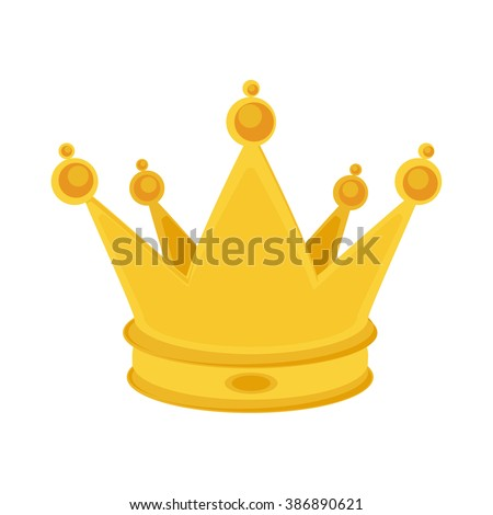 Vector illustration golden crown isolated on white. Golden crown icon - stock vector
