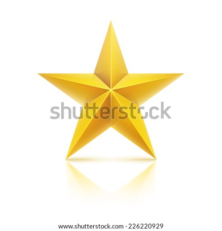 Vector illustration. Golden realistic stars.