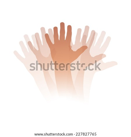 Vector illustration Goodbye, moving hand - stock vector