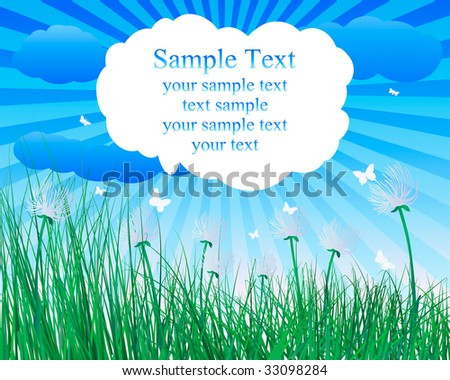Vector illustration grass background with copy space - stock vector