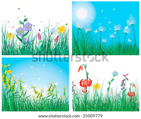 Vector illustration grass backgrounds set for design use - stock vector