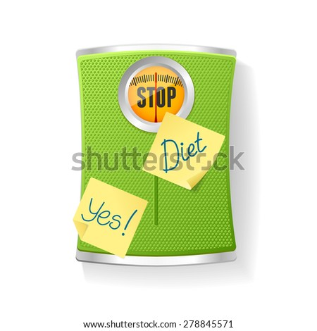 Vector illustration Green Bathroom Scale isolated on a white background. The concept of weight loss and diet - stock vector