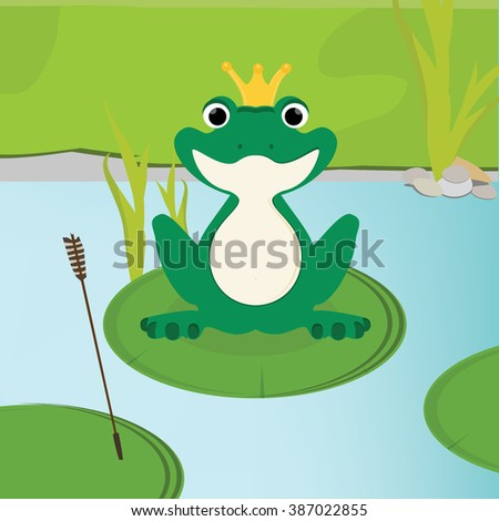 Vector illustration green, cute frog with golden crown on head sitting on the water lily leaf in lake.  - stock vector