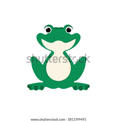 Vector illustration green, cute little frog sitting on water lily leaf - stock vector