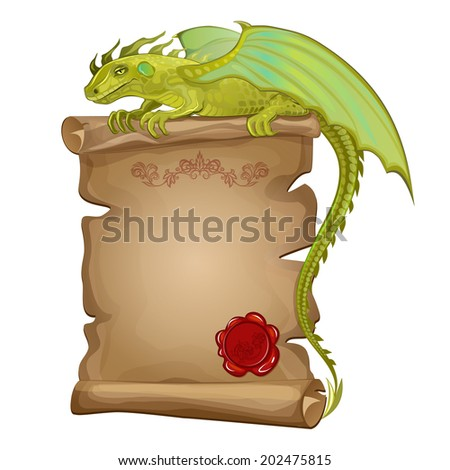 Vector illustration green dragon, ancient paper scroll and wax seal - stock vector