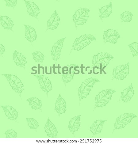 Vector illustration: green seamless eco background with green leaves - stock vector