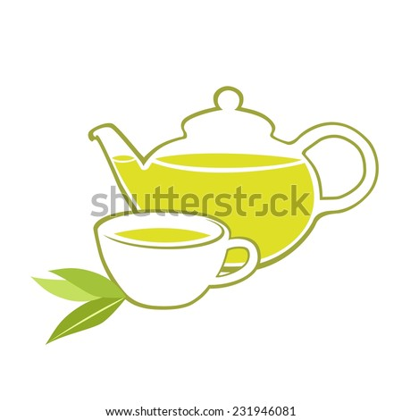 Vector illustration. Green tea.  - stock vector