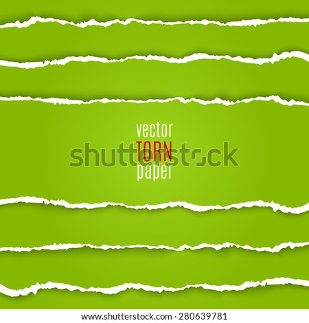 Vector illustration green torn paper. Template background - stock vector