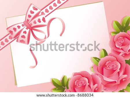 Vector illustration - greeting card and roses - stock vector