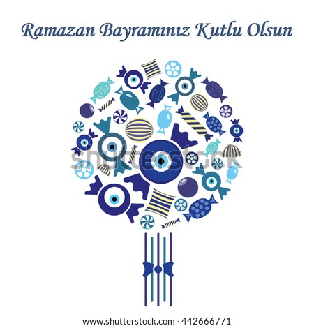 vector illustration / greeting card for Seker Bayrami celebrated in Turkey in the end of Ramazan with greeting Have a Happy Sugar Feast written in turkish language / with blue sweets in bouquet design - stock vector