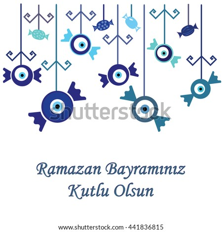 vector illustration / greeting card for Sugar Feast celebrated in Turkey in the end of Ramazan with greeting Have a Happy Ramazan Feast written in turkish language / blue sweets hanging decoration - stock vector