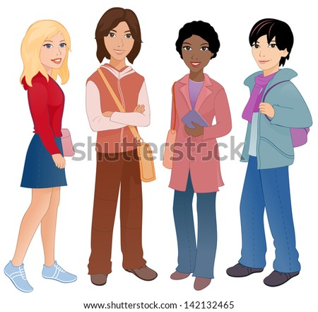 Vector illustration: group of cute multi ethnic students. - stock vector