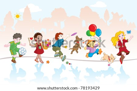 Vector illustration, group of kids playing, cartoon concept, similar images in portfolio. - stock vector