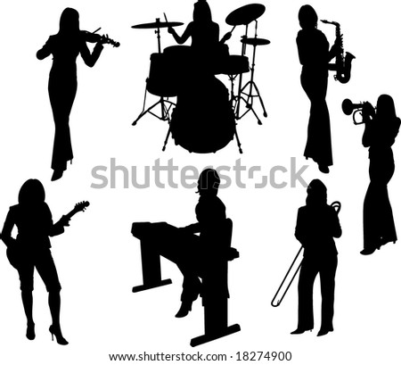 Vector Illustration: group of music girls silhouette - stock vector