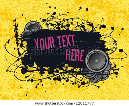 vector illustration - grunge text frame on grunge audio background - stock vector