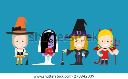 Vector illustration - Halloween beauty witch character - stock vector