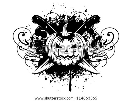 Vector  illustration halloween pumpkin with skulls - stock vector
