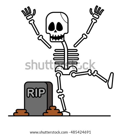 Vector illustration - Halloween skeleton character.