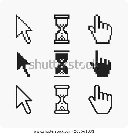 Vector illustration hand cursor hourglass.  - stock vector