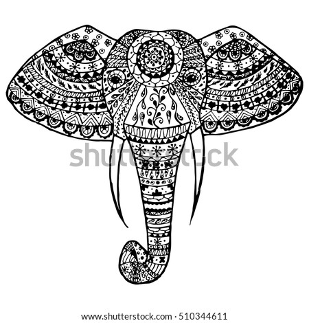 Vector illustration hand drawn black and white indian elephant head patterns on a transparent background