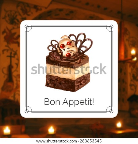 Vector illustration. Hand drawn cake with watercolor texture. Chocolate cake with cream, berries. Hand painted cake on a blurred photo background. Poster or card for cafe, bakery, restaurant. - stock vector