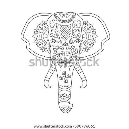 Vector Illustration Hand Drawn Elephant With Indian Tradition Pattern For Adult Coloring Book Print