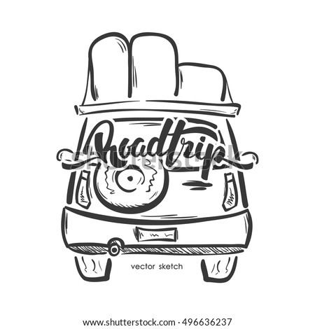 Vector Illustration Hand Drawn Emblem Travel Stock 496636237