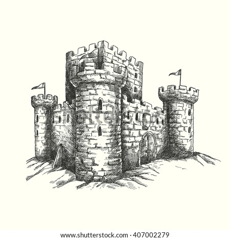 vector illustration hand drawn engraved medieval castle isolated on white background unique detailed