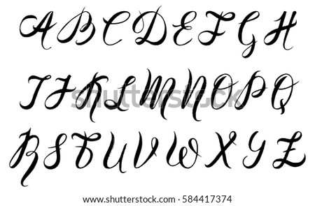Vector Illustration Hand Drawn Font By A Brush Pen Watercolor Alphabet Capital Letters