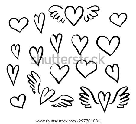 Vector illustration hand drawn hearts set  of design elements  - stock vector