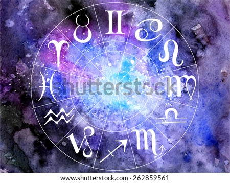 vector illustration; hand drawn zodiac on beautiful watercolor cosmos background - stock vector
