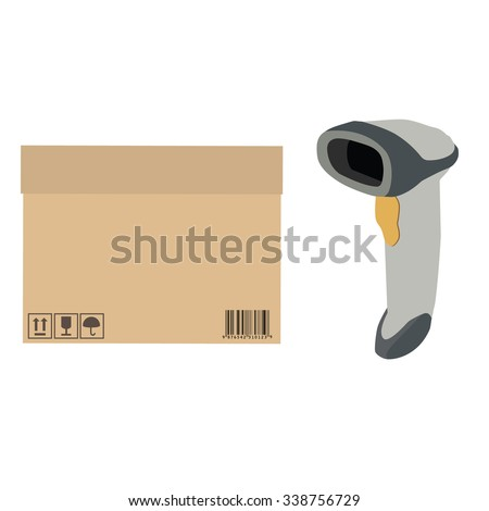 Vector illustration handheld barcode scanner scanning barcode from cardboard box. Cardboard box  with symbols keep dry, fragile, no sun, sign up vector - stock vector