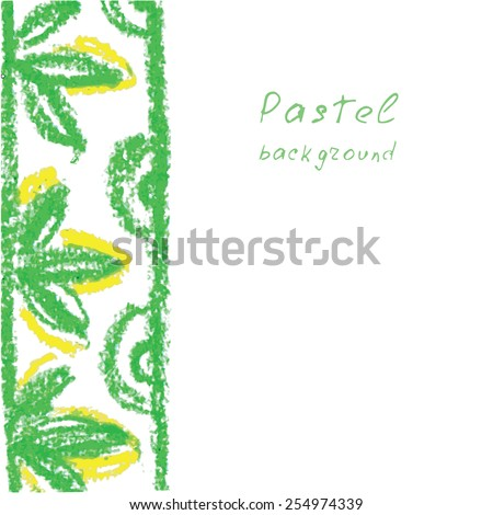 Vector illustration handmade drawing pastel chalks background.