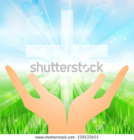 Vector illustration hands and cross - stock vector