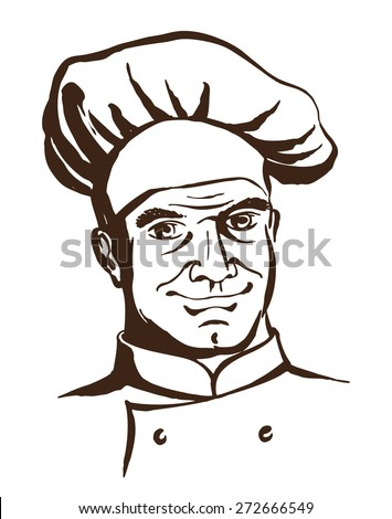Vector illustration Handsome chef wearing hat and uniform. Hand drawing logo