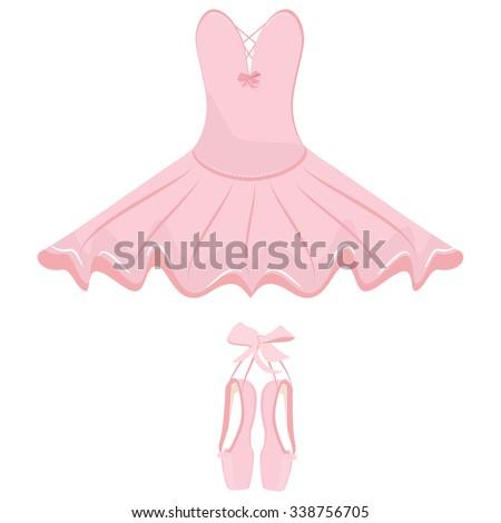Vector illustration hanging pink ballet pointes and ballet dress. Pointes shoes and ballet tutu for ballerina. - stock vector