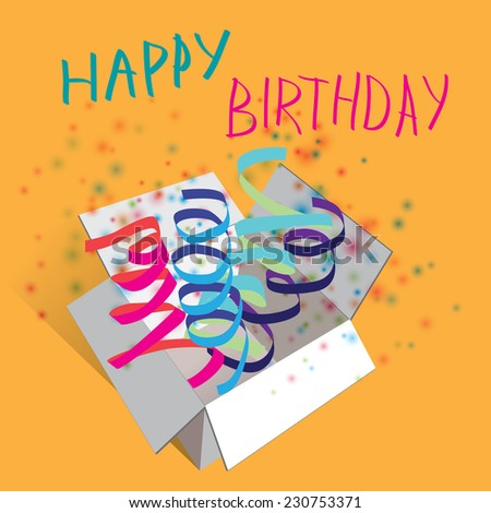 Vector illustration. Happy birthday. Ribbon and color konfetti - stock vector