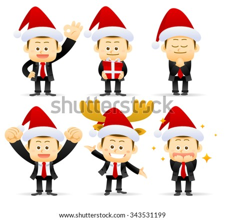 Vector illustration. Happy businessman in Santa Claus hat. Merry Christmas and Happy New Year Be successful at work every year business concept.  - stock vector