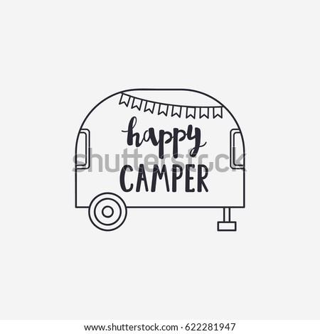 Vector Illustration Happy Camper Lettering With A Travel Trailer Outdoor Logo Emblem