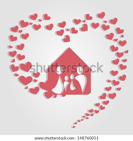 Vector illustration happy family silhouettes consisting of flying hearts - stock vector